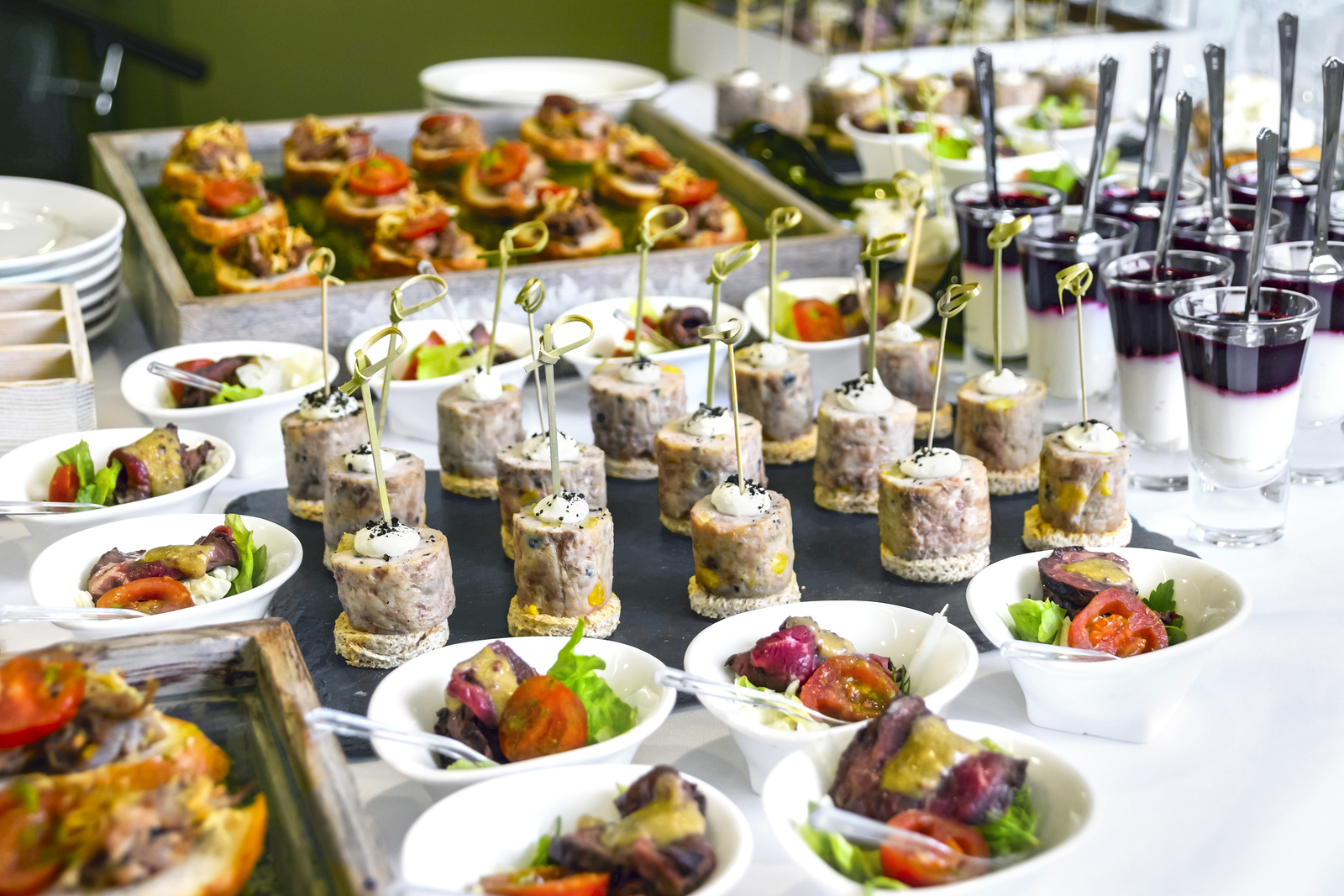 Catering Service Concept: Assorted Snacks Served at a Business Event, Hotel, Birthday or Wedding Celebration